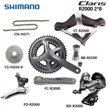 Shimano Claris R2000 Groupset 2x8S Road Bike Full Complete Groupset Braze/Clamp