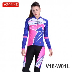 VEOBIKE Womens Long Sleeve Cycling Jersey Pants Suits